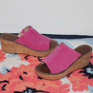 Sam Edelman Pink Wedge Sandals 8 M Suede Leather